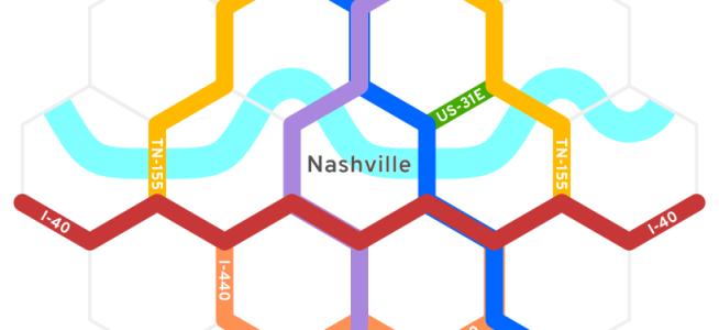 Nashville's highways projected onto a hexagonal grid.