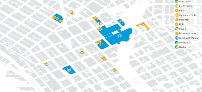 A map of downtown Seattle, with PAX venues highlighted in blue and hotels highlighted in yellow.