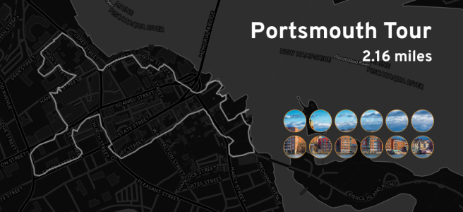 "Ingress mosaic map of the ""Portsmouth Tour"" mission."