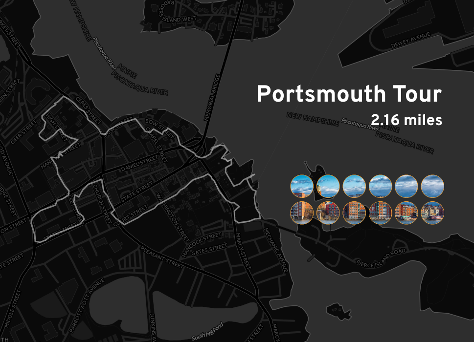 """Ingress mosaic map of the """"Portsmouth Tour"""" mission."""