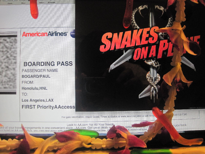 A boarding pass from HNL to LAX, decorated with the Snakes on a Plane movie poster, a lei, and gummy snakes