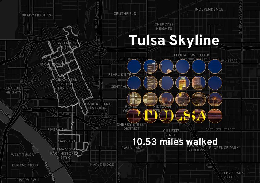 "Ingress mosaic map of the ""Tulsa Skyline"" mission."